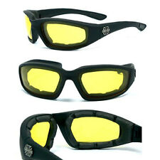 Night Driving Choppers Bikers Padded UV400 Sunglasses + Pouch Goggles - Yel C17