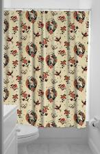 SOURPUSS LOST LOVE FABRIC SHOWER CURTAIN TRADITIONAL TATTOO SKULL ANCHOR