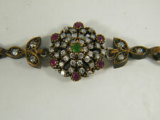 BRACELET:  CHARMING 4+ CTS GREEN EMERALD RED RUBY WH TOPAZ ROUND 925 STERLING SI