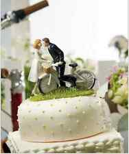 Fashion Cake Toppers Bicycle Groom and Bride Funny Wedding Cake Toppers Topper