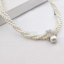 Chic Women Chunky Statement Necklace Multi-layered Pearl Pendant Bib Jewelry