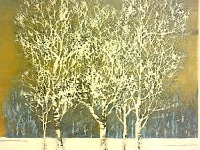Asian Artist Joichi Hoshi Signed CLUMP OF TREES IN WINTER 1976 Japan VTG