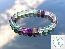 Multi Fluorite Natural Gemstone Bracelet 7-8'' Elasticated Healing Stone Chakra