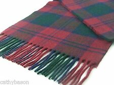 LAMBSWOOL SCARF Lindsay Green Burgundy TARTAN CHECK British made by Bronte
