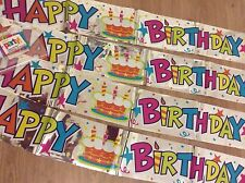 Tesco huge  12ft Happy birthday foil banner bunting garland cuts into 4 strips