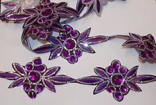 Violet bijou sequins indian mariage danse costume ruban strass applique maille