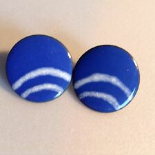 Handcrafted Blue Enamel Earring White Arc Curved Stripes Copper Pierced