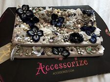 Bnwt Monsoon Accessorize Perline sullo & Pansy fiore POCHETTE