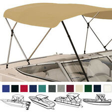 "PONTOON BOAT BIMINI TOP TAN 4 BOW 96""L 54""H 97""- 103""W/ BOOT & REAR POLES"