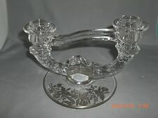Indiana Glass Silver City Sterling Overlay Double Fler de Lis Candlestick