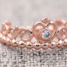 Princess Tiara Ring Rose Gold PL Solid Sterling Silver Stacking Size 52 / 6