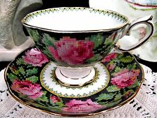 ROYAL ALBERT TEA CUP AND SAUCER NEEDLE POINTE PATTERN CHINTZ ROSE TEACUP
