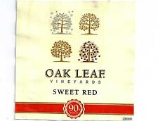 Oak Leaf Sweet Red Wine Bottle Label