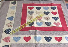Marti Michell Vintage heart patch cheater pillow panel fabric panel 12x13 blocks