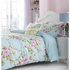 CATHERINE LANSFIELD DUCK EGG BLUE FLORAL CANTERBURY KING SIZE DUVET COVER SET