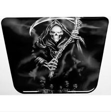 Grim Reaper Black & White Cruiser Resin Domed Motorcycle Tank Pad