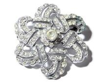 Antique Czech rhodium plate geometric flower pin brooch crystal rhinestones