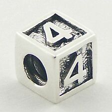 Silver bead number 4 Cube 8mm high 925 sterling silver for charm bracelet new