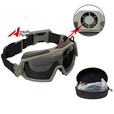 Tactical Airsoft Regulator Goggles w/Fan Anti-fog Anti-Dust Safety Glasses DE