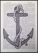 Vintage Anchor Print Dictionary Page Wall Art Picture Nautical Sailing Sea Beach