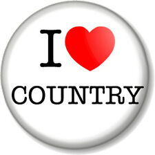 """I Love / Heart COUNTRY 1"""" 25mm Pin Button Badge Music Style Western American"""