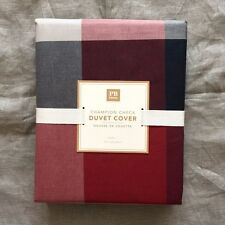 POTTERY BARN Teen Champion Check Duvet Cover only twin red navy