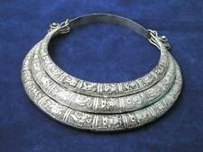 Tibet Miao silver carved 12 zodiac animals necklace