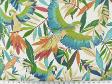Drapery Upholstery Fabric Indoor/Outdoor Rainforest  Parrots - Ivory Multi