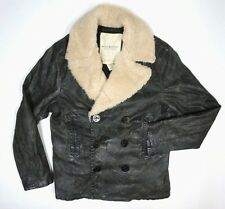 NEW DENIM AND SUPPLY RALPH LAUREN BLACK VINTAGE COATED PEACOAT JACKET SIZE L
