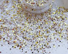Nail Art *Glitzy Gold & White* Glitter Powder Dust Mix Pot Tips Nail Decoration
