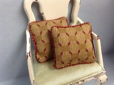 Set Of 2 Piped CARAMEL/ Burgundy  Cushions for dolls house 12th Scale