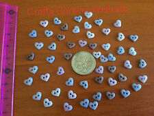 Tiny sew thru hearts brown vintage colours blue brown Dress It Up Buttons 8321
