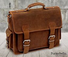Handmade Hunter Leather Satchel Briefcase Laptop Messenger Bag (RRP £129.99)
