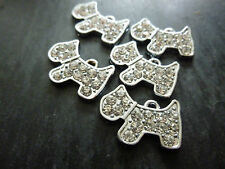 BEAUTIFUL SILVER RHINESTONE/DIAMANTE/CRYSTAL DOG CHARMS x 5, BNWOT