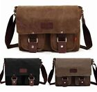 Men's Vintage Canvas Leather Shoulder Messenger Bag Tool School Bag Satchel 101