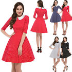 Vintage 50s 60s Style BLACK RED POLKA DOTS Full Skirt PINUP Day Dress