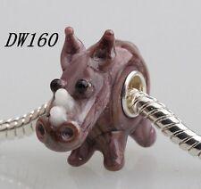 1pcs SILVER MURANO GLASS BEAD LAMPWORK Animal European Charm Bracelet DW160