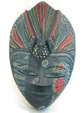 "Wooden Peacock Batik Mask Hand Carved Wood Bali Art Wall Decor Mask 9"" #6149"