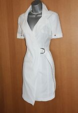 Unique Karen Millen White Cotton Wrap Trench Shirt Casual Everyday Dress 12 UK
