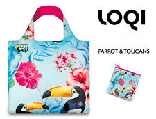 TOUCAN PARROT Shopping Bag or Beach Tote & Pouch FOLDABLE ROLL Eco Reusable LOQI