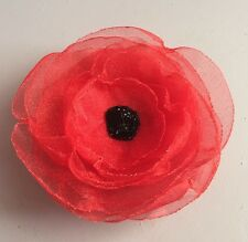 Poppy Brooch Flower Hair Clip Red Organza UK Handmade Rememberance Day