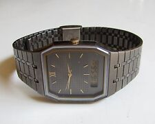 Vintage SEIKO Alarm Chronograph STAINLESS STEEL Gold Plate Case MENS h601-5109