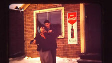 50s Young Native Couple Coca-Cola Sign at Cafe in Nome Alaska 35mm Kodak Slide