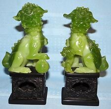 Pair Set Chinese Carved Jade Resin FOO DOG Statue BookEnds Lion Asian Art Jadite