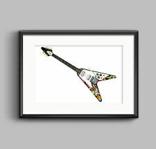 Jimi Hendrix's 1967 Gibson Flying V guitar POSTER PRINT A1 size