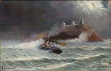 TUCK Oilette #7133 Jersey UK Les Casquets Channell Islands Ship in Storm