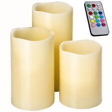 Lot de 3 Bougies LED à piles vraie cire avec télécommande chandelle blanc-crème