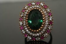 Turkish 4 Ct Oval  Emerald Ottoman Victorian Style 925 Silver Size 8.5 Ring