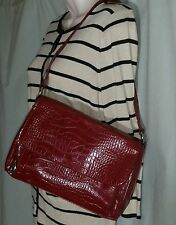 Liz and Co. Red Faux Croc Polyvinyl Multi Pocket