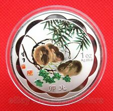 Exquisite Chinese Lunar Zodiac Rabbit Colored Silver Plated Coin Token 45mm